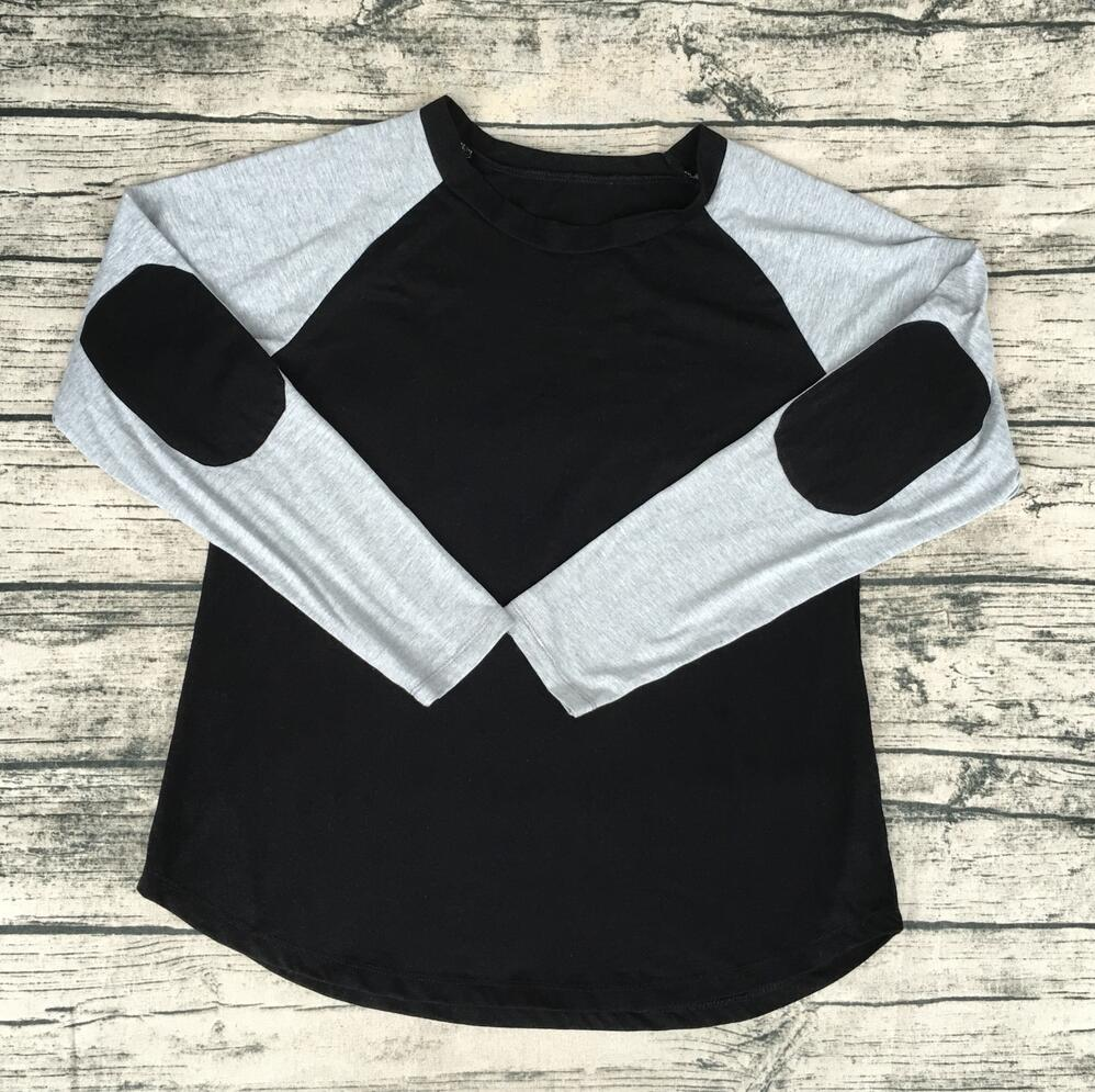 0b6203926b23 Wholesale Blank plain Cotton Shirt elbow Patch Toddler Girls Top custom  raglan 3 4 sleeve Infant Raglan Shirts-in Tees from Mother   Kids on  Aliexpress.com ...