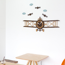 Large Propeller Aircraft Creative Wall Clock Living Room Modern European Children Cartoon Wooden Hanging Watch