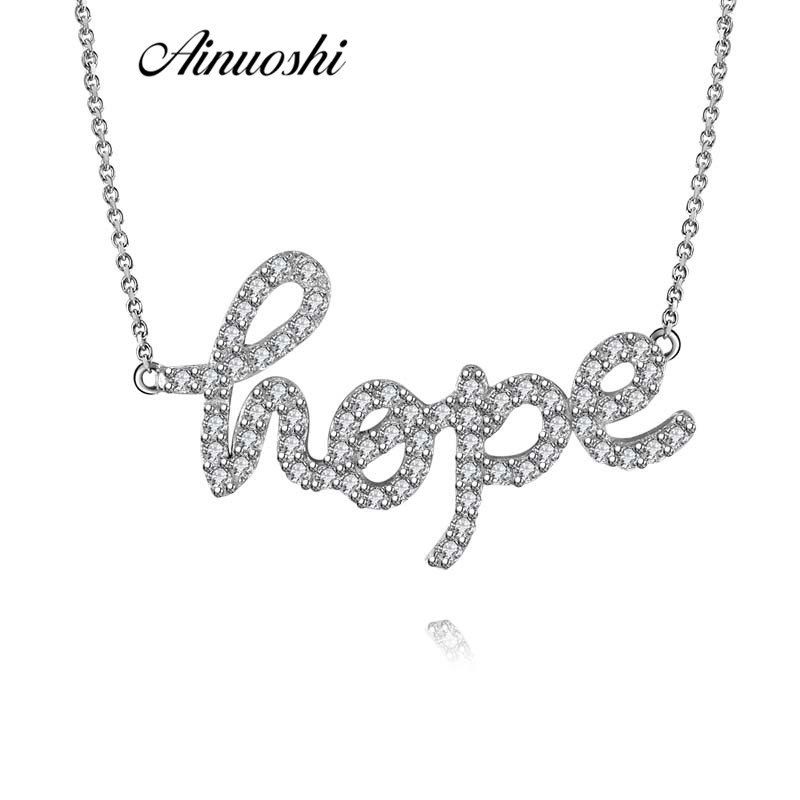 AINUOSHI Fashion 925 Sterling Silver Letters Hope Necklace Pendant Women Wedding Engagement Anniversary Promise Jewelry Gifts original dropshipping my sweet pet paw love necklace girl 925 sterling silver pendant necklace for women fashion jewelry gifts