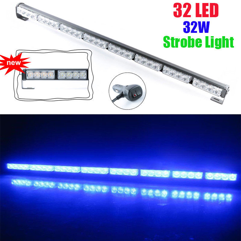 CYAN SOIL BAY 35 36 32 LED Emergency Warning Traffic Advisor Flash Strobe Light Bar Blue 12V Flashing Lamp cyan soil bay blue white 8 led 8led car emergency dashboard dash strobe lights police warning flash