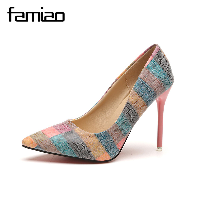 FAMIAO Women pumps party wedding shoes super high heel pointed toe zapatos mujer chaussure femme talon brand ladies shoes 2017 romanson tl 1246 mw wh wh