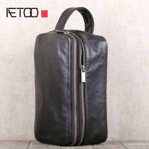 Мужская повседневная сумка AETOO, из воловьей кожи