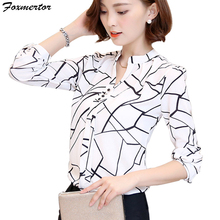 Foxmertor, женские топы, рубашка,, v-образный вырез, принт, женская одежда, элегантная, для девушек, Офисная рубашка, длинный рукав, туника, Blusas Feminina