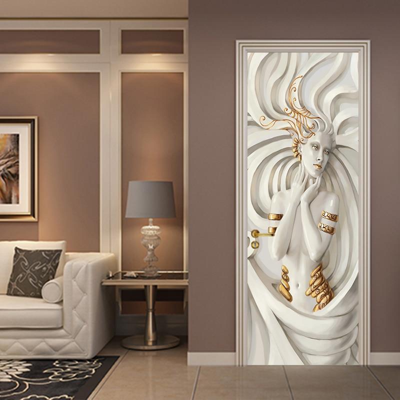 European Beibehang Relief Beauty Wallpaper Poster Mural Door Sticker Background Wall Decorative Painting Home Decor
