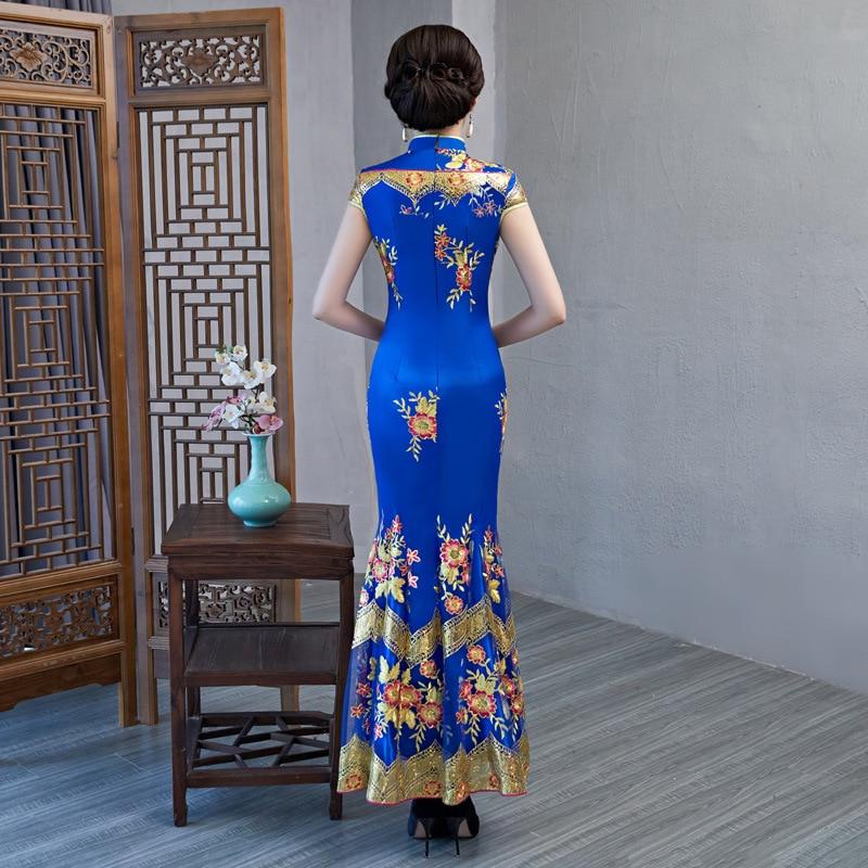 Элегантный женский ручной работы Кнопка Ципао с цветами тонкий Ципао с коротким рукавом Выпускной Русалка платье банкетное платье плюс размер 3XL