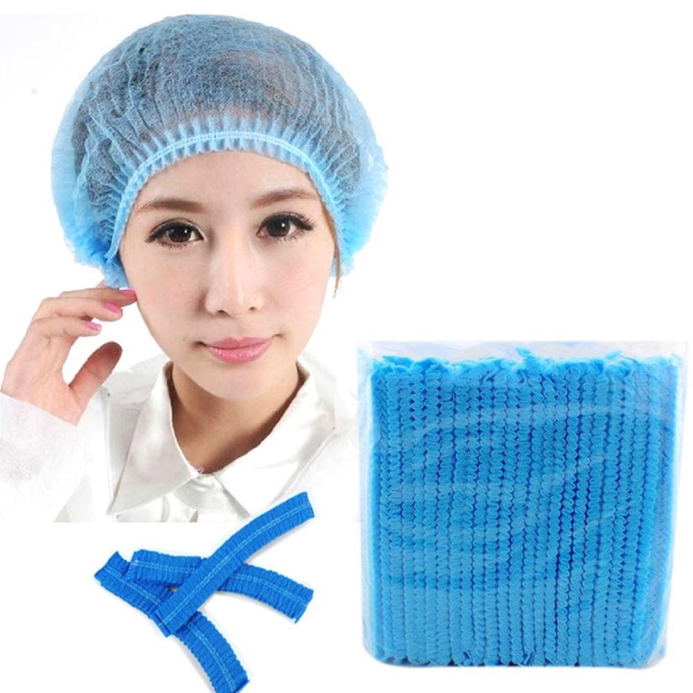 100Pcs Solid Color Elastic Mesh Disposable Eyebrow Tattoo Hat Anti Dust Bath Cap
