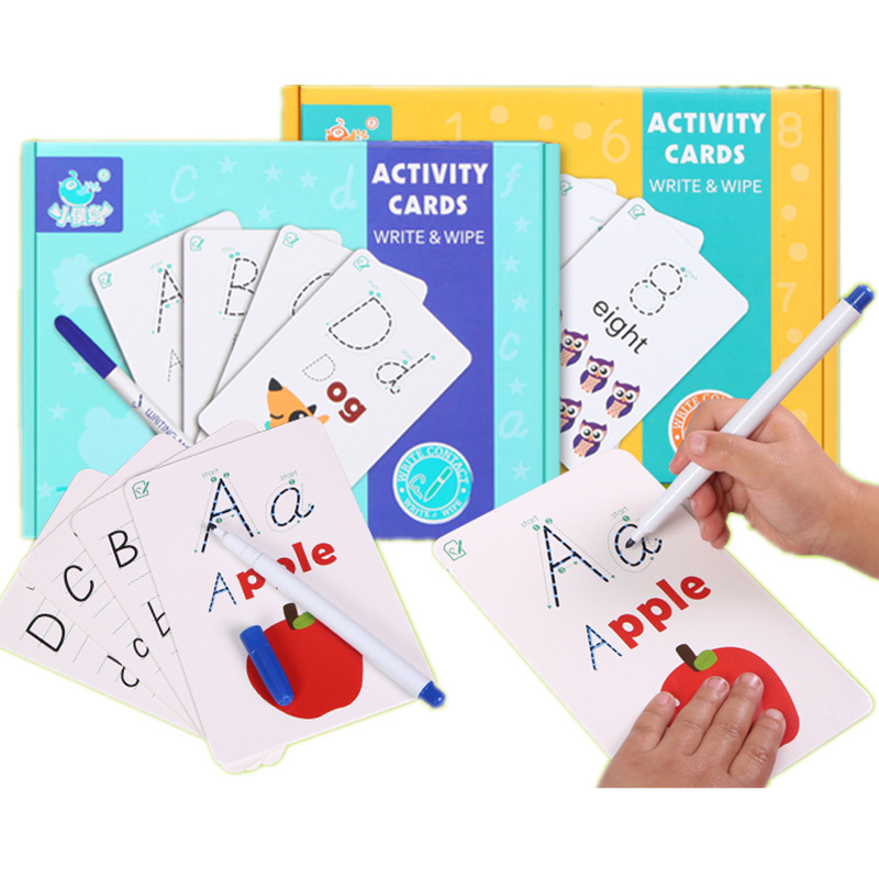 Humorous Baby Toys Activity Card Write/wipe Learning Toys Letter/digital Montessori Educational Paper Card Birthday Gift