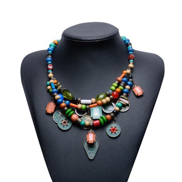 Bronze antigo colar de pingente de cristal jóias geométrica estilo verão bijoux turquesa beads liga de zinco moeda colar de tecido