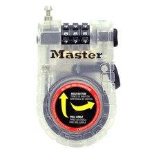 Master Lock 4605D Braided Steel Retractable Cable Lock 36in (90cm) Long Keyless Combination Code Bike Lock for Bags Loose Items джемпер westelite 36in