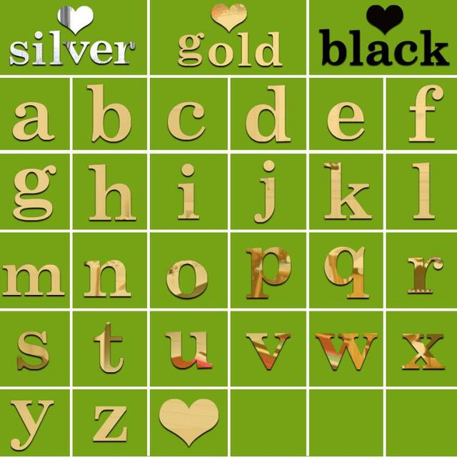 Gold 10CM Wall Sticker 26 Small Letters DIY Art Mural Home Decor Acrylic Decals Diy i love you Mirror Stickers Alphabet Style