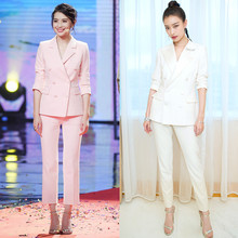 ФОТО 2018 korean version of the spring temperament double-breasted jacket nine pants suits women two-piece suit