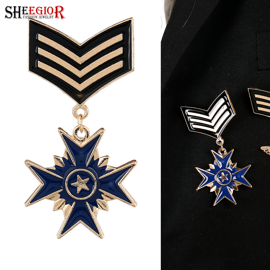 SHEEGIOR Vintage British Style Star Cross Brooch Pins Badge Mens Jewelry Fashion Retro Medal Brooches for Women Accessories Gift