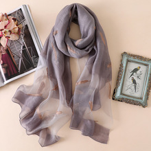 2019 high quality women scarf summer silk scarves for lady pashmina wool shawls and wraps female bandana embroidery foulard