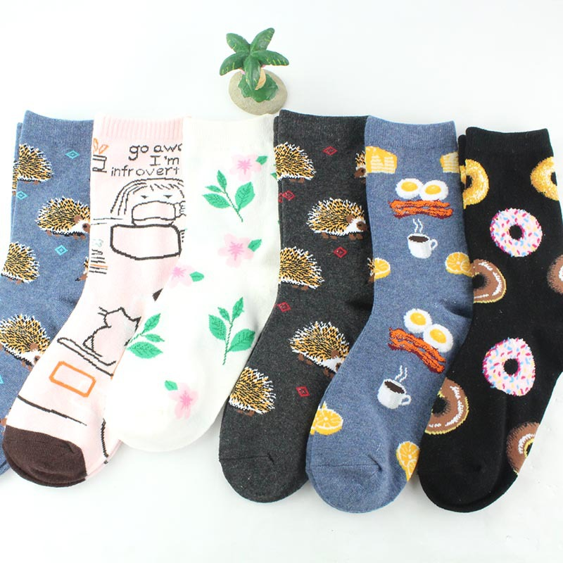 Cute Fashion Women's Crew   Socks   Hedgehog Donut Pattern Colorful Cotton Funny   Sock   For Girl Birthday Gift
