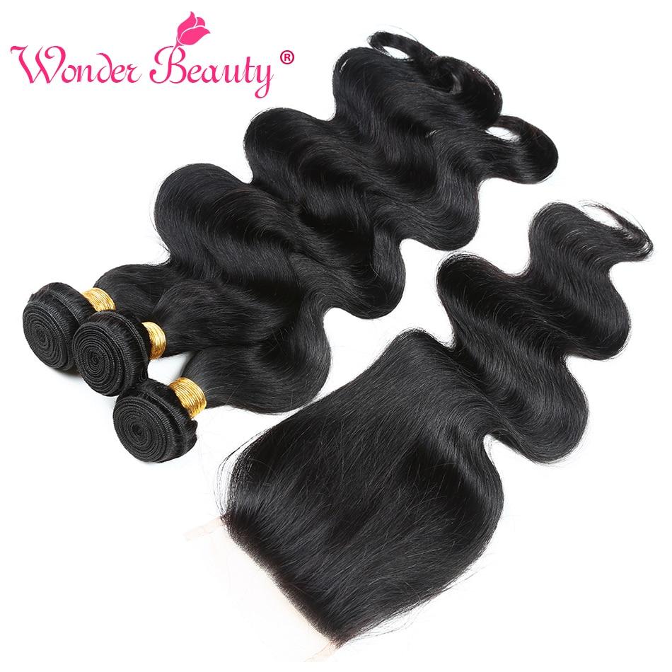 Wonder Beauty Maleisië Body Wave bundel deals niet-remy - Mensenhaar (voor zwart) - Foto 3