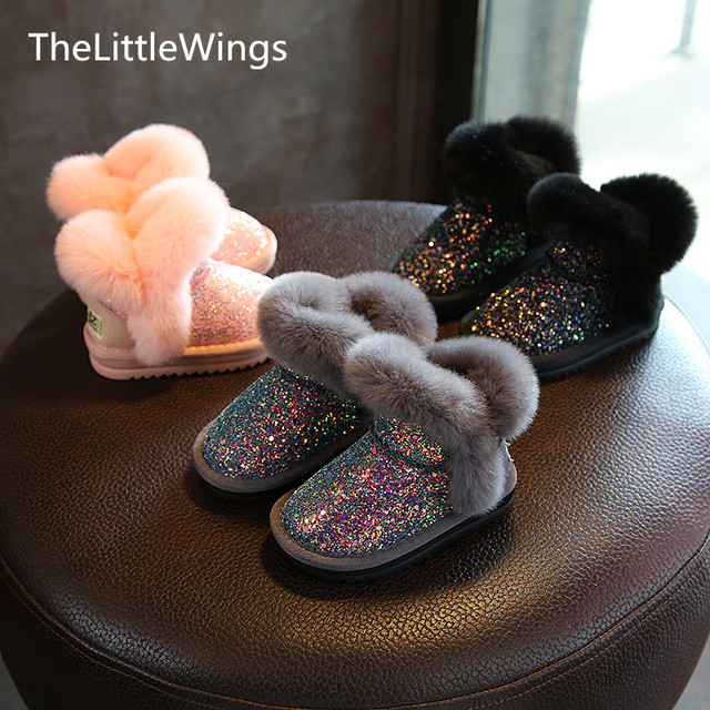 2018 winter Sequins girls boots Princess boys school snow boots thickened baby cotton shoes Non-slip foot warmer 1-9 years old
