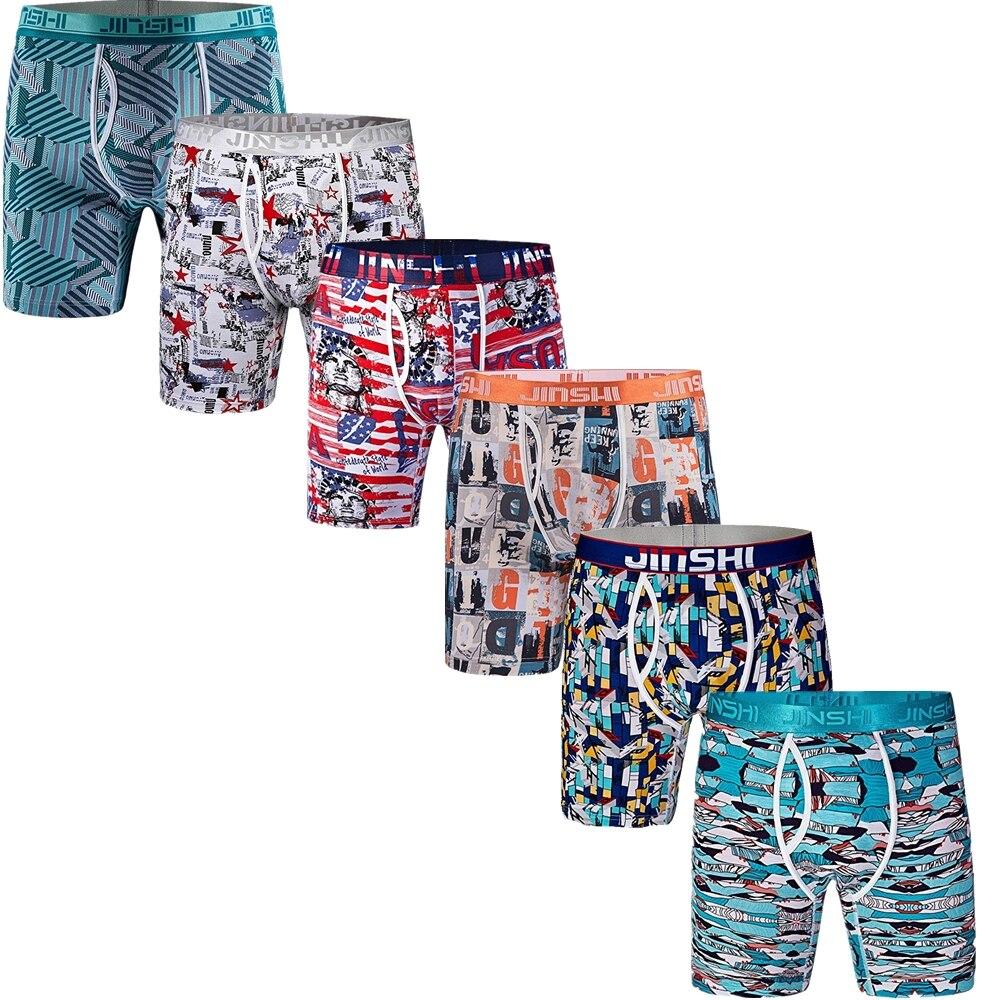 6 pièces nouveau hommes en fibre de bambou imprimé long boxer shorts hommes sous-vêtement confortable u convexe caleçon hommes respirant