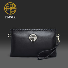 Pmsix 2017 genuine leather clutches Luxury Chinese Style Women Wallets Long Party Purse Clutch Bags Black/purple P520020
