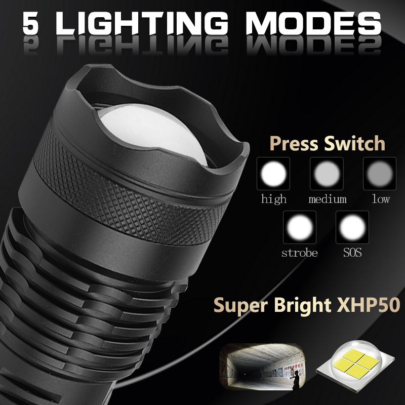 Ultra Bright Flashlight xhp50.2 USB Flashlight  Zoom LED Torch xhp50 LED Flashlight 18650 or 26650 Rechargeable Battery Hunting