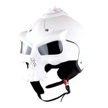 цена Double Lens helmet Skull Motorcycle helmet  Motorbike Capacetes Casco Retro Casque Soman SM689