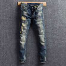 Fashion Streetwear Men Jeans Blue Color Retro Wash Slim Fit Destroyed Ripped Jeans Men Patchwork Embroidery Hip Hop Jeans Hombre fashion streetwear men jeans retro wash slim fit paint designer ripped jeans men printed pants destroyed hip hop jeans