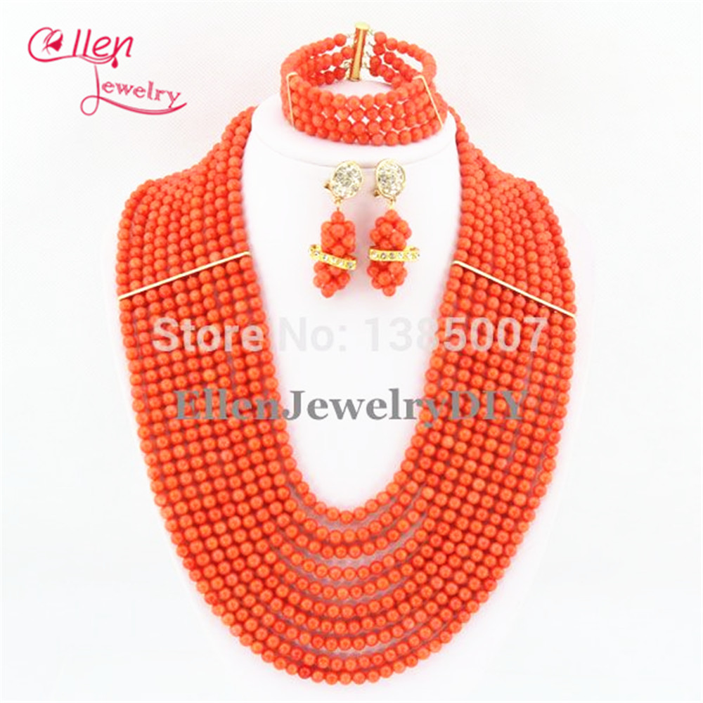 цена Fashion Coral Necklace Bracelet Earrings 10 Rows Nigerian Wedding Coral African Beads Jewelry Sets,Bridal Party Necklace TL1254