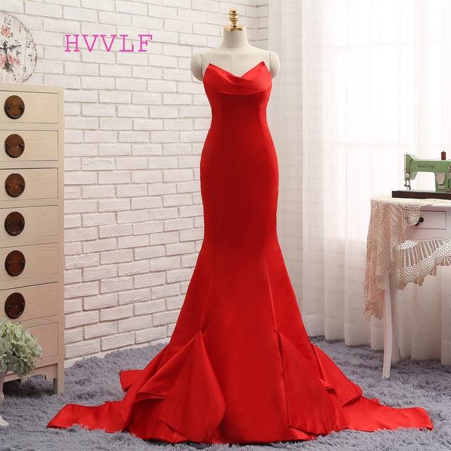 Hvvlf 2018 Formal Celebrity Dresses Mermaid V Neck Sweep Train Satin Red Backless Evening