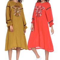 2018 New Women Nine Point Sleeve Cotton Dresses Floral embroidery Spring Summer Dress Casual Loose Retro Slimming Dress Vestidos
