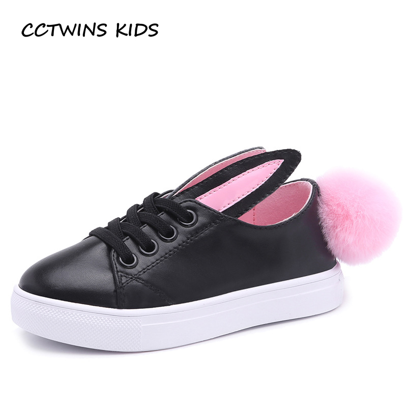 CCTWINS-KIDS-2017-Toddler-Fashion-Leather-Sport-Shoe-Children-Black-Breathable-Sneaker-Baby-Girl-White-Bunny-Flat-F1689-3