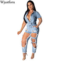 Wjustforu Ripped Hole Denim Jumpsuit Women Deep V Neck Jeans Jumpsuit Hollow Out Button Denim Sexy Club Rompers Overalls Female