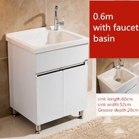 Bathroom Cabinet Combination Stainless Steel Bathroom Vanities with Faucet Quartz Stone Countertop Cabinet Laundry Cabinet