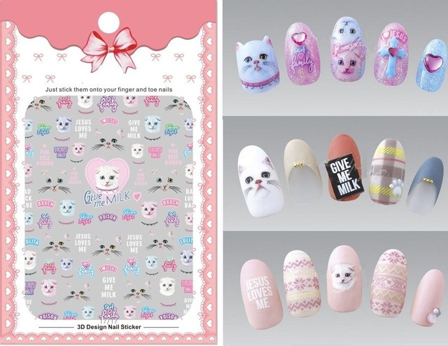 1 Sheet Pink Cat 3d Nail Art Transfer Stickers Cute Cat Japanese