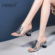 Women Shoes Summer 2019 New Leather Slippers Open Toe Crystal Sequins Thick Heel