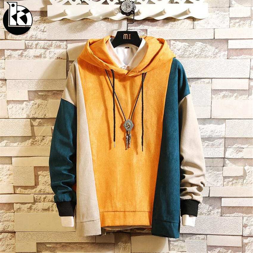 2018 Autumn Large Size New Solid Color Hoodie Men Fashion Casual Brand  Trend Contrast Color Stitching Long Sleeve Mens Hoodies