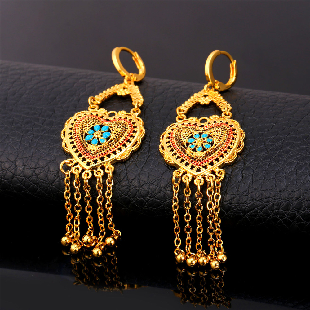 U7 Gold Color Jewelry Set Wedding Accessories Indian Trendy Love Heart Tels Long Earrings Necklace For Women S789 In Sets From