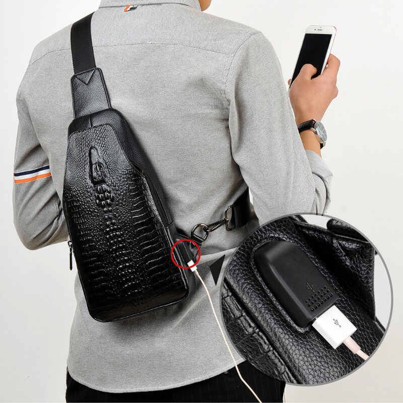 New Fashion Men Chest Bag Messenger Bags Leather USB charging Casual Men's Travel Shoulder Bags Crocodile pattern Crossbody Bag