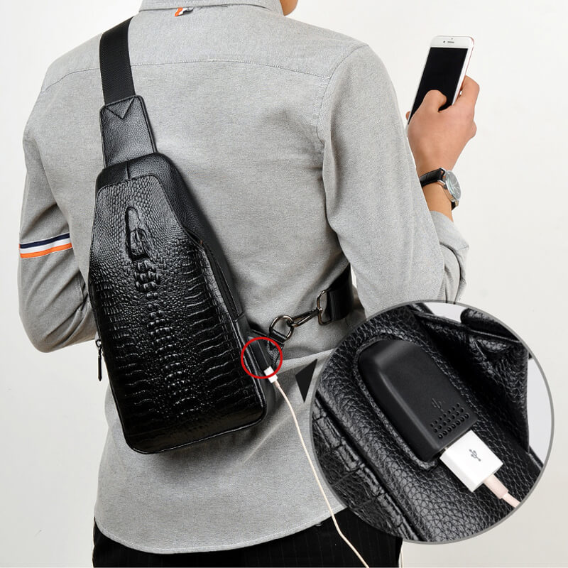 New Fashion Men Chest Bag Messenger Bags Leather USB charging Casual Mens Travel Shoulder Bags Crocodile pattern Crossbody BagNew Fashion Men Chest Bag Messenger Bags Leather USB charging Casual Mens Travel Shoulder Bags Crocodile pattern Crossbody Bag