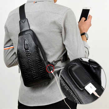 New Fashion Men Chest Bag Messenger Bags Leather USB charging Casual Men's Travel Shoulder Bags Crocodile pattern Crossbody Bag - DISCOUNT ITEM  45% OFF All Category