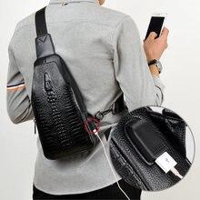 Nuovi Uomini di Modo Borsa Messenger Bag Petto Borse In Pelle USB di ricarica Casual Cartelle Borse Da Viaggio degli uomini Del modello Del Coccodrillo del Sacchetto di Crossbody