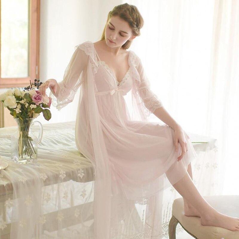 ec517096ec Sexy Women s Long Robe Set Princess Sleepwear Soft Nightgown Nightshirt Two  Pieces Set Autumn   Winte