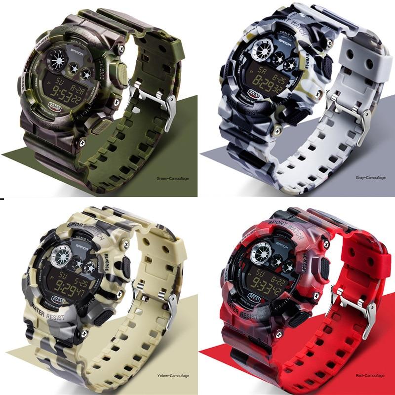 SANDA Designed Luxury Men Sport Watches Men's Digital Watches Camouflage Waterproof Electronic Man Military Running Wristwatches