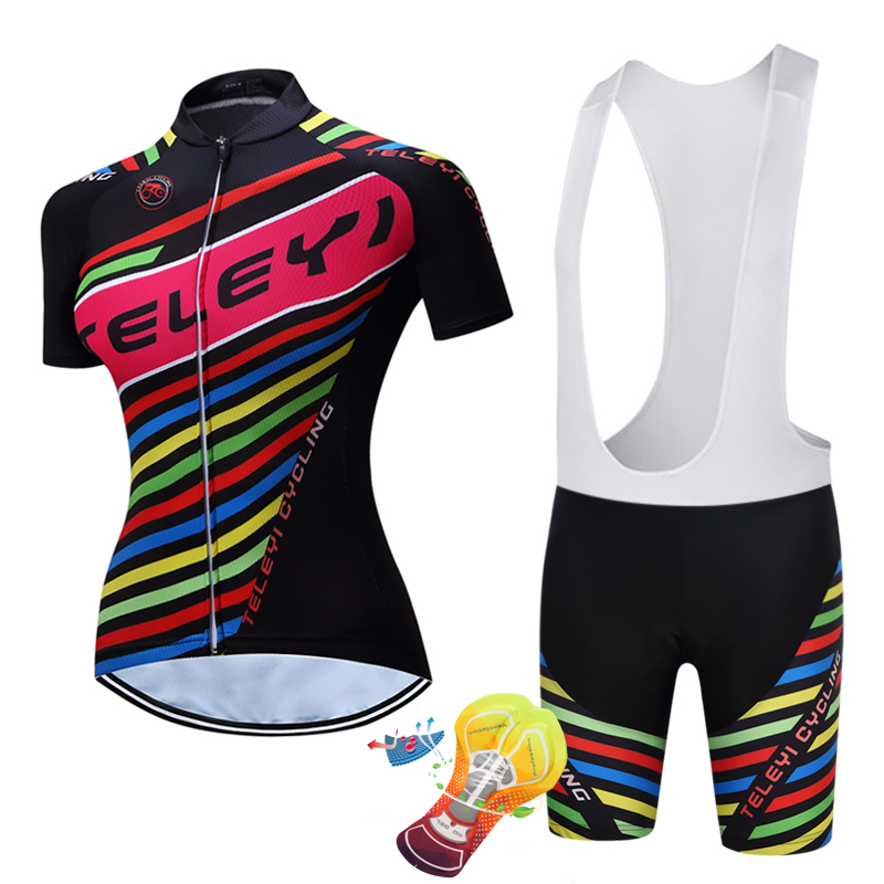 2018 teleyi Women Cycling Jerseys Summer Team Short Sleeves Cycling Set Bike Clothing Ropa Maillot Ciclismo Cycling Clothing
