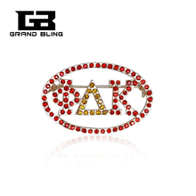 Red color Rhinestone Custom Made Alloy Brooch Unique Pins Greek Letter