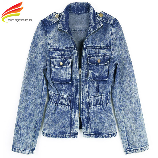 New 2018 Spring Denim Jacket Women With Double Pockets Epaulet Blue