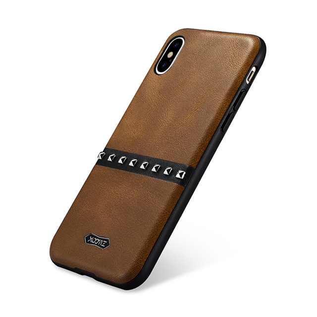 wholesale dealer 1f4b9 e50de US $10.83 22% OFF|High Quality Vintage Leather Case For iPhone X Rivets  Element Cover Silicone Back Case For Apple iPhone X Original Phone Cases-in  ...