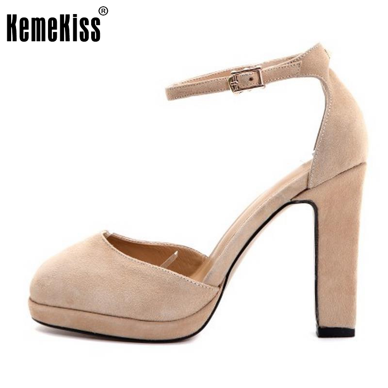 Women's Real Leather High Heeled Shoes Women Ankle Strap Thick High Heels sandals Ladies Flats Sexy Party Footwears Size 34-40