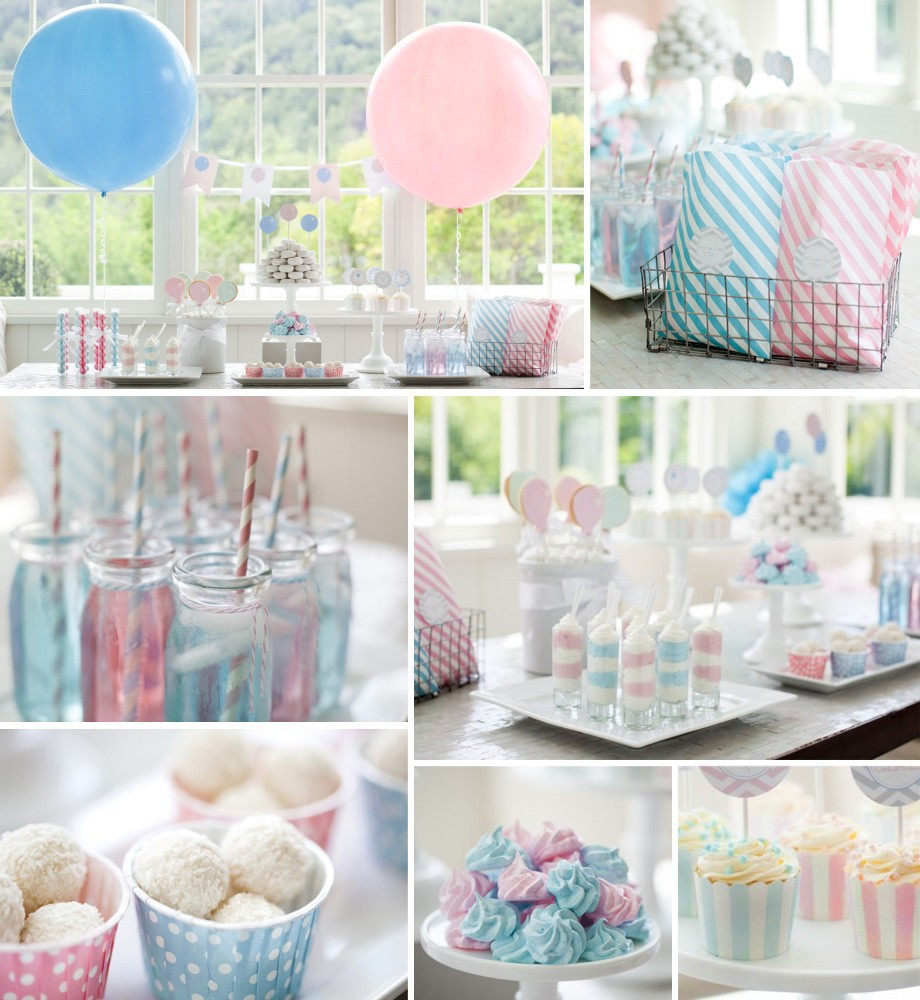 Baby pink baby blue party supplies set for kids prince for Baby birthday decoration photos