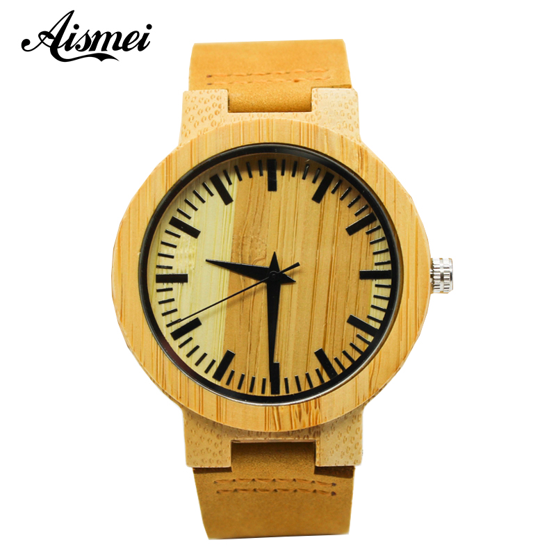 Casual Simple Wood Watch Men Minimalist Wrist Watch Fashion Leather Quartz Wooden Bamboo Watch Men Sports Clock Reloj de madera цена и фото