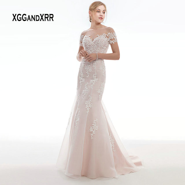 New Arrival Pink Short Sleeves Mermaid Wedding Dress 2019 Lace Long Bridal Gown Scoop Illusion Back Lace Applique Bride Dresses