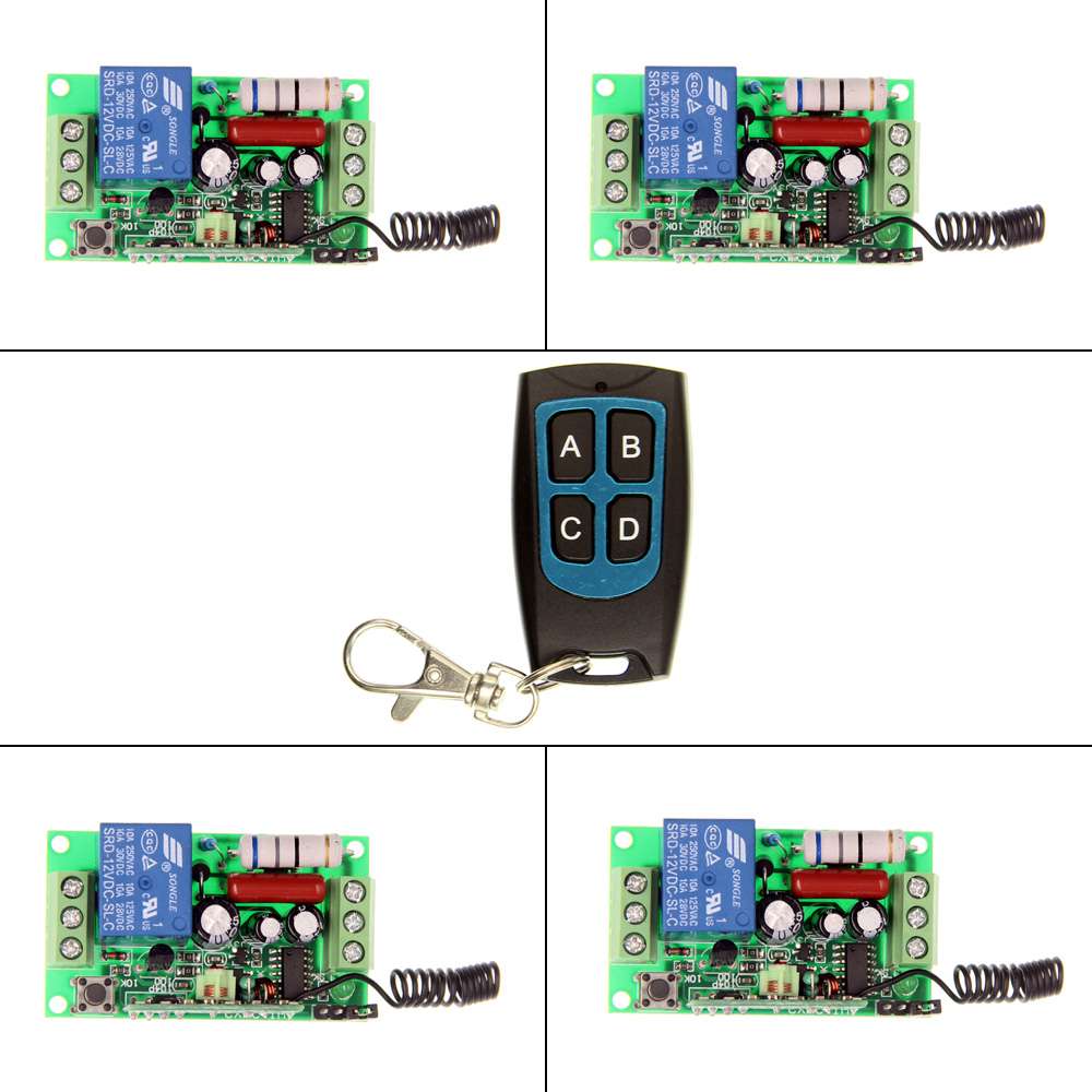 AC 220V 110V 1 CH 1CH RF Wireless Remote Control Switch System,4CH Waterproof Transmitter + 4 X Receivers,Self-lock/Jog,315/433 2 receivers 60 buzzers wireless restaurant buzzer caller table call calling button waiter pager system